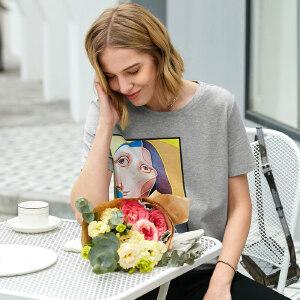 【到手价68.9元】Amii极简洋气港味原宿风T恤女2019夏季新款印花圆领直筒短袖上衣