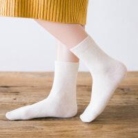 复古简棉袜子女中筒袜女士秋冬季纯色棉袜学院风日系少女袜 均码