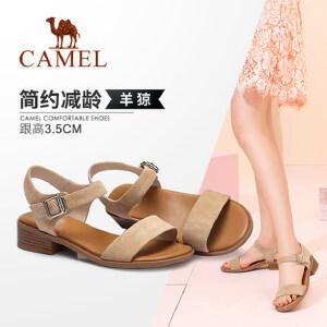 骆驼女鞋 2018夏季新款 休闲舒适减龄扣搭时尚粗跟韩版百搭凉鞋女