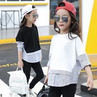 新款童装女童打底衫春季宽松蝙蝠袖T恤中大童条纹假两件衬衫