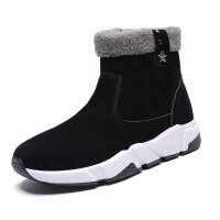 2018冬季新款真皮雪地靴女坡跟中跟�壤��保暖棉靴短筒�n版毛毛靴