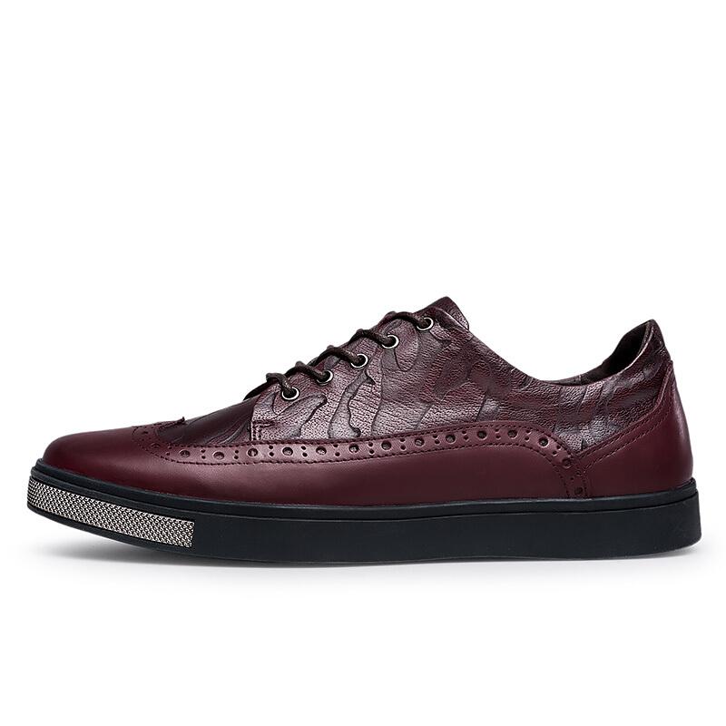 英伦皮鞋男潮流休闲鞋真皮布洛克男鞋雕花韩版系带厚底鞋子男红色
