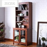 ZUCZUG美式乡村书柜书架组合带玻璃门置物柜简易书橱卧室展示柜子 美式书柜 0.6-0.8米宽