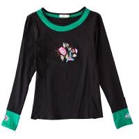 民族风长袖上衣秋装新款中国风绣花T恤修身刺绣大码弹力打底衫女 黑色