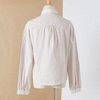【全场2件2.5折,到手价:42.3】美特斯邦威长袖衬衫女士秋装新款条纹复古简约拼接蕾丝衬衣