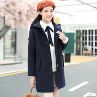 韩版冬装毛呢外套12-13-15岁大童女装女孩中长款女童毛呢大衣加厚 175cm(XXL码 建议体重:120-140斤