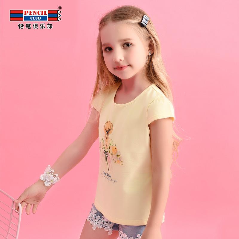 【2折价:19.8】铅笔俱乐部童装2019夏装新款女童短袖T恤中大童上衣儿童圆领T恤