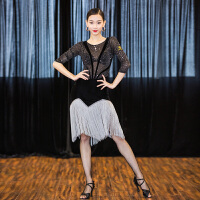 拉丁舞服装女舞蹈连衣裙 流苏表演练功服
