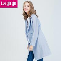 【两件5折后价154.5】Lagogo/拉谷谷冬季新款时尚大翻领双排扣大衣