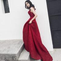 敬酒服新娘2018新款红色鱼尾婚礼宴会结婚晚礼服女长款拖尾春季 酒红色