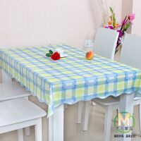 木儿家居防水免洗 塑料餐桌布PVC防油圆方桌透明垫 左岸光年蓝格子