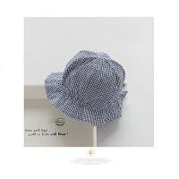 婴儿帽子男女宝宝春夏渔夫帽小格子棉布盆帽遮阳帽凉帽3-6-个月1944 蓝色 藏青格子 均码 约头围40~46┆2~9