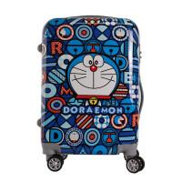 新款图案静音万向轮旅游鞋拉链款拉杆箱20/24英寸韩版时尚潮流行李箱百搭便携手提箱 蓝猫