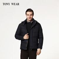 TONY WEAR/汤尼威尔秋冬男士商务休闲立领镶皮长袖羽绒服