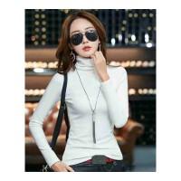 高领打底衫女秋冬新款加绒加厚白色修身长袖T恤韩版纯色紧身秋衣 2X