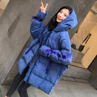 韩版学生连帽面服棉衣女冬季chic宽松加厚bf中长款羽绒