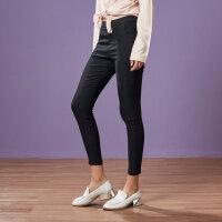 【满1000减750】美特斯邦威圆环拉链长裤女冬新品时尚修身简约舒适加绒紧身裤