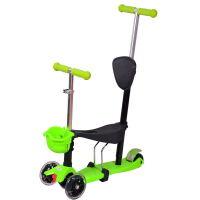 【当当自营】炫梦奇儿童滑板车 可坐玩具车 四轮闪光 可调高低 绿色