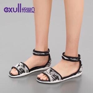 依思Q夏季新款厚底平跟凉鞋魔术贴休闲女鞋