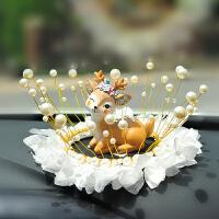 车内饰品摆件汽车装饰品女创意个性漂亮车钻一鹿平安车载摆件可爱