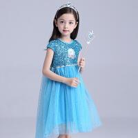 女童春装儿童短袖连衣裙冰雪奇缘公主裙子