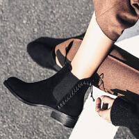 大叔家磨砂短靴女2018新款秋冬圆头流苏中跟踝靴粗跟显瘦切尔西靴
