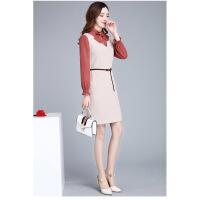 2019春季新款韩版洋气时尚假两件套连衣裙女修身显瘦打底裙1901