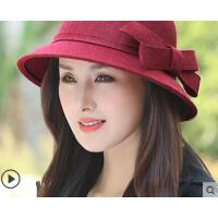 新款韩版圆顶大沿礼帽飘带盆帽子女英伦复古女欧美呢大檐帽女