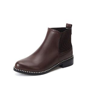 WARORWAR法国2019新品YG12-L03-07B冬季欧美牛皮真皮低跟鞋女鞋潮流时尚潮鞋百搭潮牌靴子马丁靴短靴
