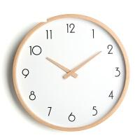 简约现代榉木时钟挂表卧室家用石英钟表日式静音北欧挂钟客厅实木