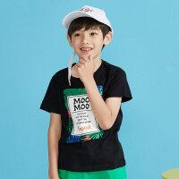 【2件2.5折到手价:19.75】moomoo童装男童上衣夏季新款植物纯棉圆领儿童装男童短袖t恤