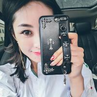 iPhone7plus支架手机壳8p挂绳XSMSX女XR苹果6s硅胶防摔套 iphone X 黑色