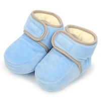 冬季儿童加绒保暖鞋子男女童厚棉鞋宝宝鞋婴幼儿不掉棉鞋小孩脚套 建议约0-12个月 请按实际脚长选购 高约8cm