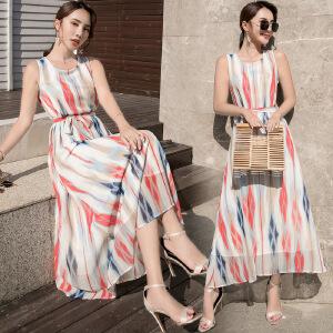 沙滩裙2018夏季女装裙子修身显瘦雪纺连衣裙波西米亚度假长裙