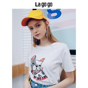 Lagogo/拉谷谷2018年夏季新款时尚圆领印花图案短袖T恤HATT314F03