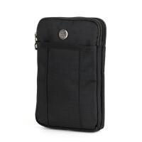 7寸平板电脑包 防水尼龙布穿腰带腰包 6寸大手机包单肩斜挎包挂扣 黑色 全黑色