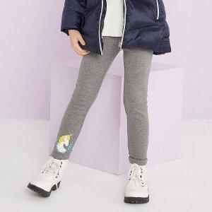 【1件3折到手价:37.5】美特斯邦威旗下moomoo童装女童趣味图案打底裤冬季中大童加绒长裤