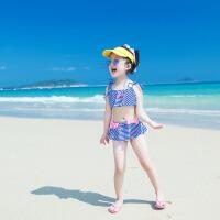 温泉儿童游泳衣女童条纹比基尼两件套大中小童公主蝴蝶结宝宝泳装