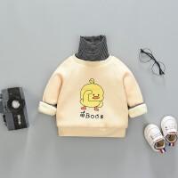男童加绒卫衣韩版潮装宝宝加厚秋冬洋气儿童小童保暖上衣