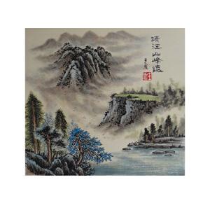 实力派画家  王岩  清江山峰远  A3