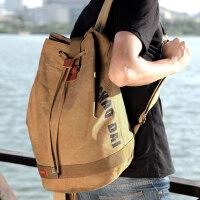 新潮代帆布运动男士双肩包水桶包旅游背包休闲旅行时尚潮流书包女
