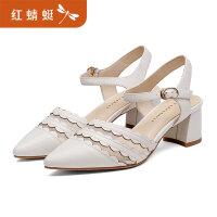 【红蜻蜓旗舰店520大促】红蜻蜓2019新款夏季包头凉鞋仙女风中跟单鞋尖头粗跟女鞋