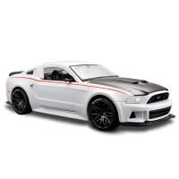 美驰图飞车仿真汽车模型 1:24福特野马GT原厂合金超跑玩具车模型 2014 福特野马 白091