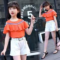 女童夏装新款韩版中大童短袖露肩上衣儿童短裤两件套
