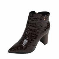 欧美秋冬新款女靴尖头粗跟短靴女马丁靴漆皮侧拉链高跟鞋加绒棉鞋软底