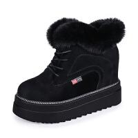 冬季棉鞋女2018新款松糕鞋加绒内增高磨砂短靴女潮厚底兔毛雪地靴