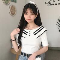 夏季女装新款韩版学生荷叶边一字领上衣针织衫短袖恤打底衫2018