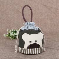 韩版帆布餐包饭盒袋卡通可爱手拎束口袋收口袋收纳袋便当包手提包 绿包白熊