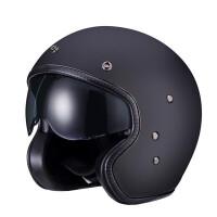 四分之三玻璃钢半覆式头盔复古摩托车太子盔男女四季哈雷半盔 黑色