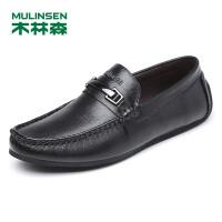 木林森男鞋 男士套脚头层牛皮豆豆鞋 05377339